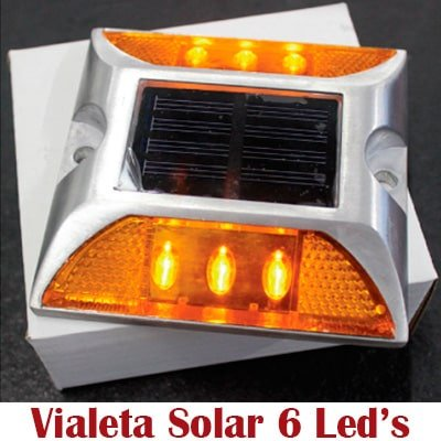 Vialeta Solar de Aluminio reflejante con 6 LEDs
